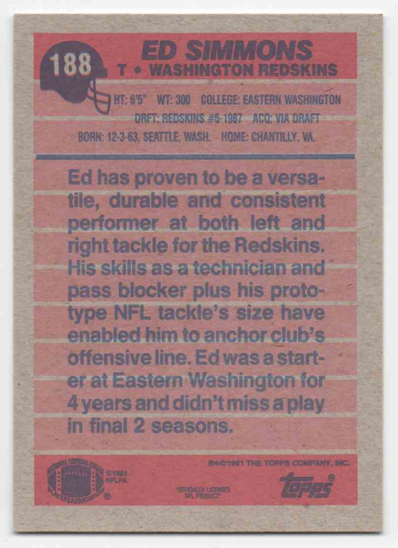 1991 Topps Ed Simmons #188 card back image