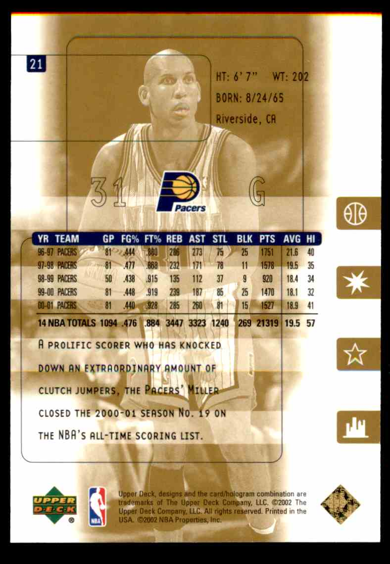 2001-02 Upper Deck Ultimate Collection Reggie Miller #21 card back image