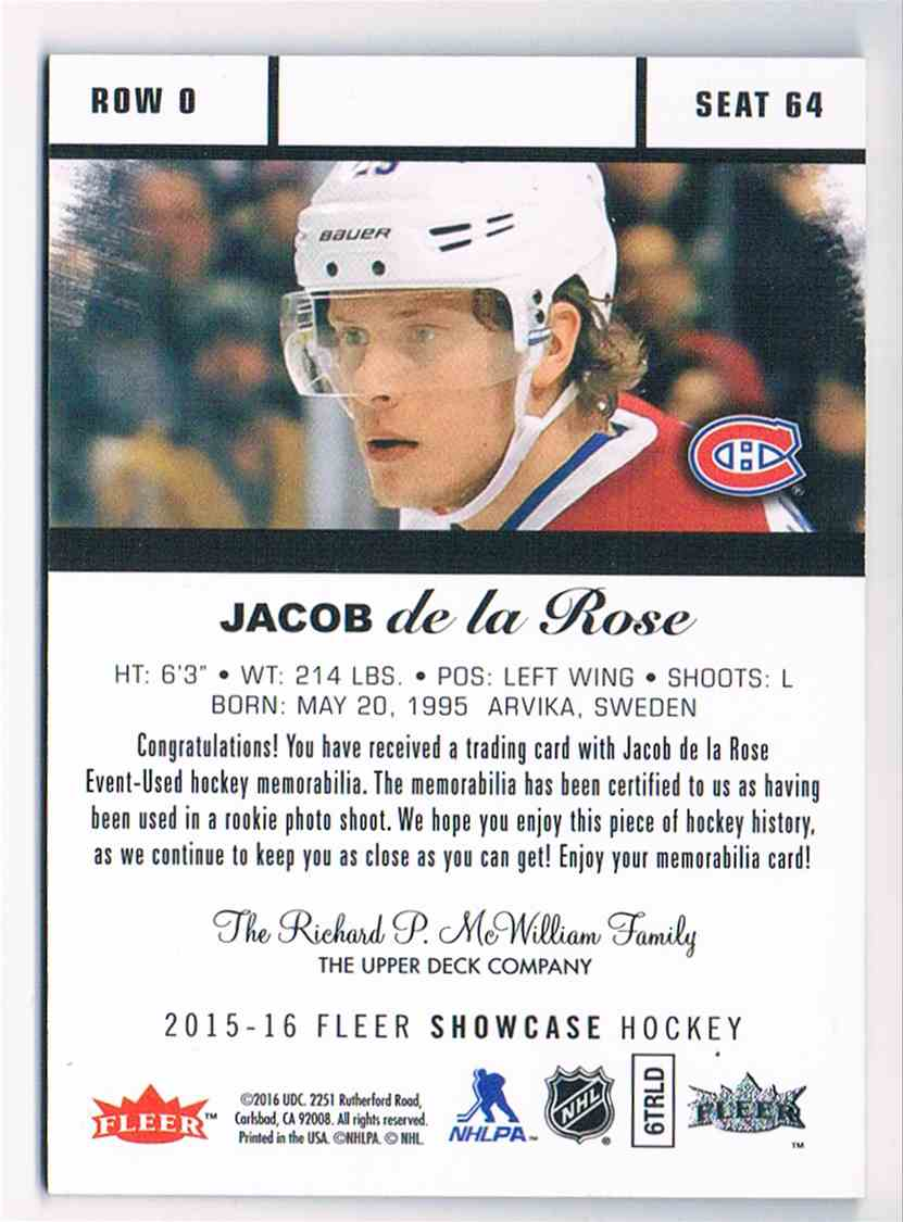 2015-16 Upper Deck Flair Showcase Rookies Jerseys Jacob De La Rose #SEAT 64 card back image