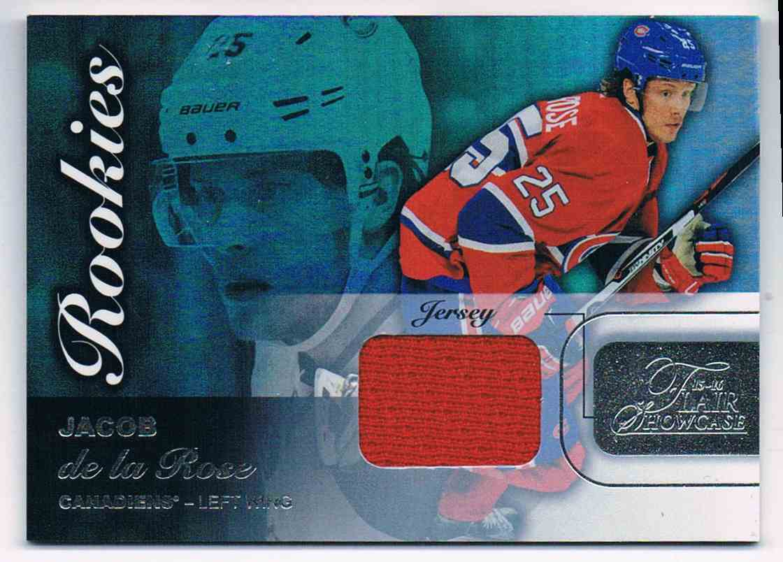 2015-16 Upper Deck Flair Showcase Rookies Jerseys Jacob De La Rose #SEAT 64 card front image