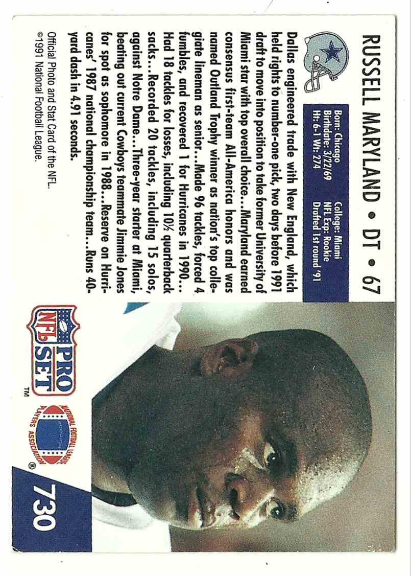 1991 Pro Set Russell Maryland #730 card back image