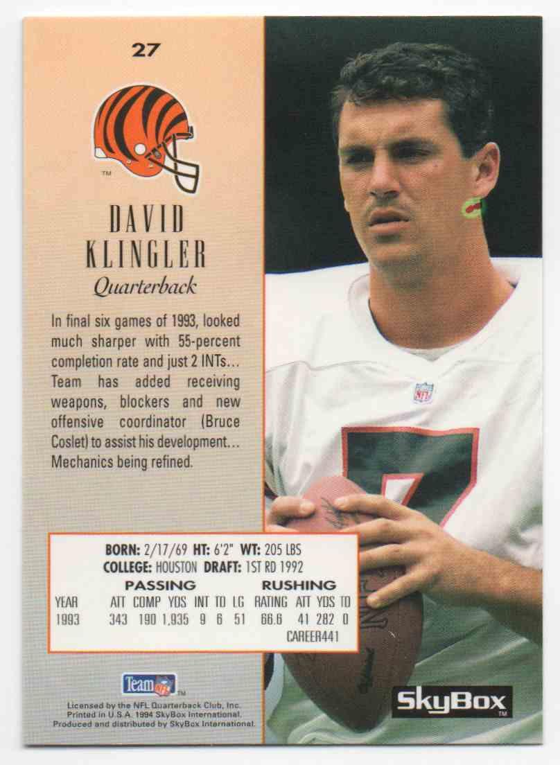 1994 Skybox David Klingler #27 card back image