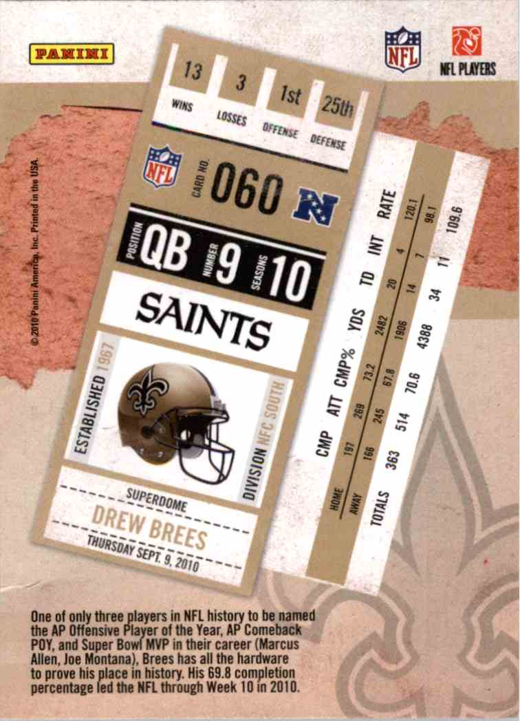 2010 Playoff Contenders Drew Brees #60 card back image