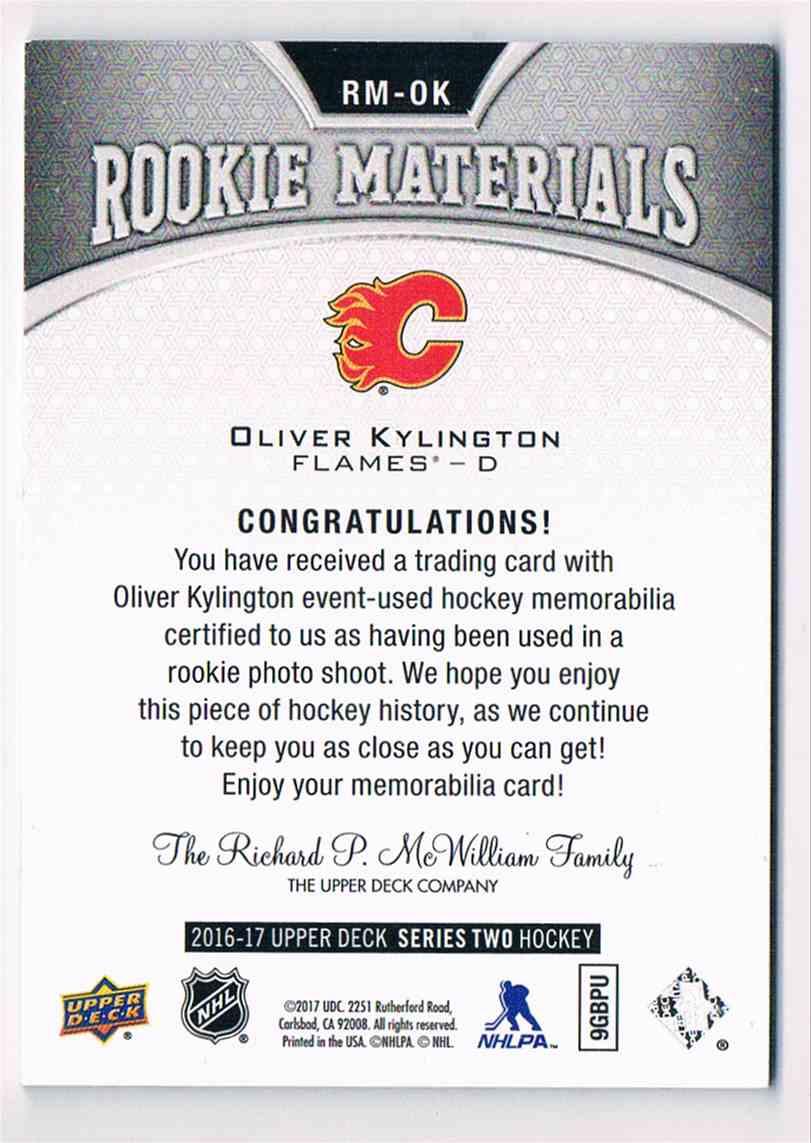 2016-17 Upper Deck Rookie Materials Olivier Kylington #RM-DK2 card back image