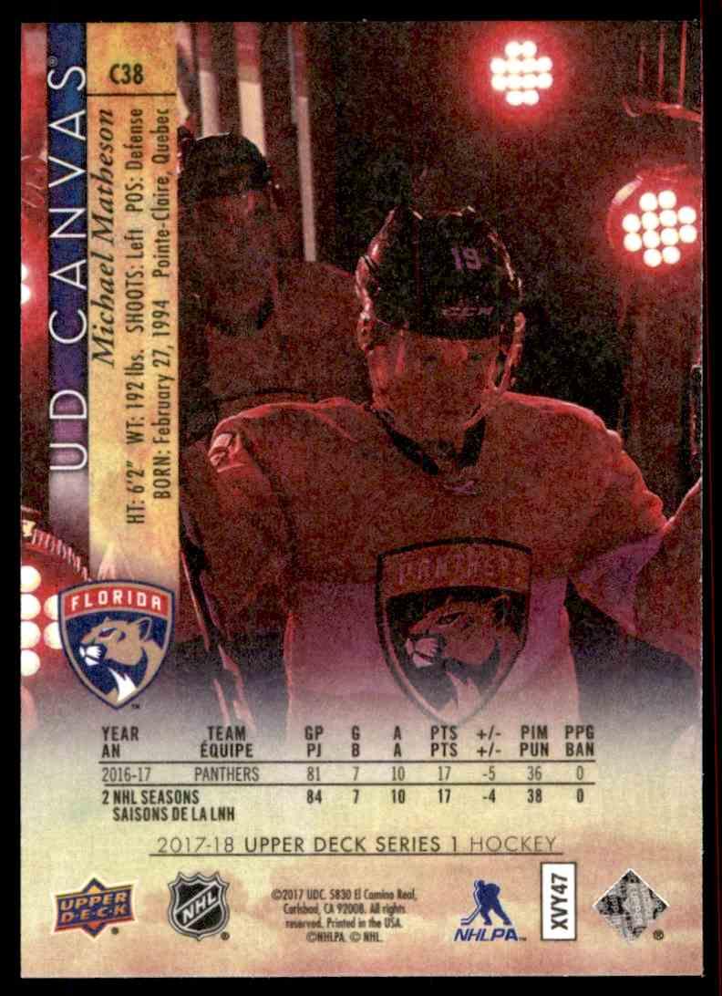 2017-18 Upper Deck Canvas Michael Matheson #C38 card back image