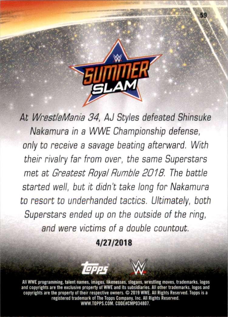 2019 Topps Wwe SummerSlam Aj Styles Vs. Shinsuke Nakamura Goes The Distance #59 card back image