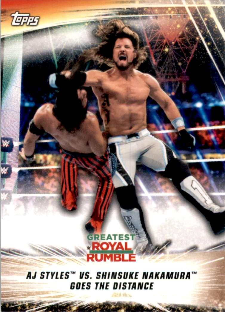 2019 Topps Wwe SummerSlam Aj Styles Vs. Shinsuke Nakamura Goes The Distance #59 card front image