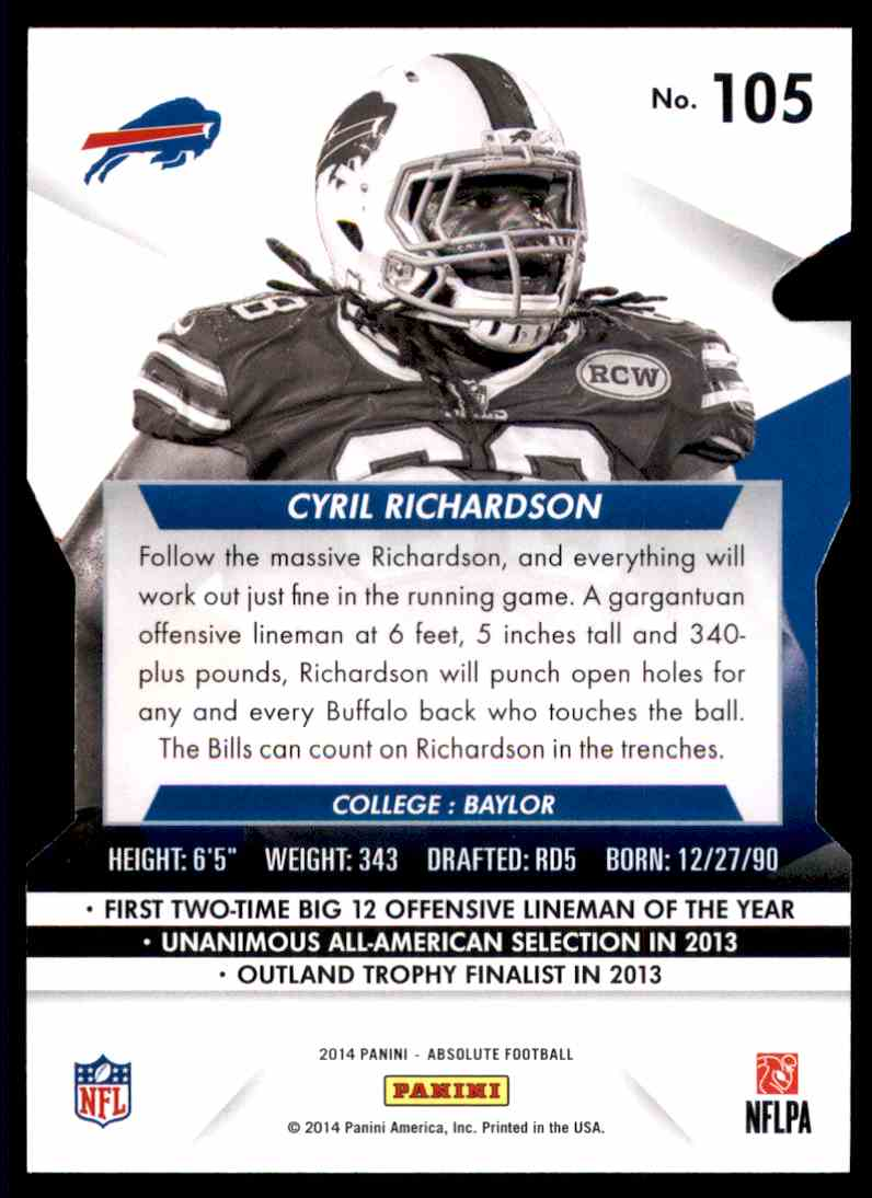 2014 Absolute Retail Cyril Richardson RC #105 card back image