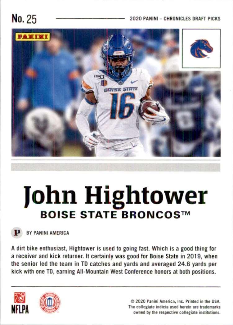 2020 Panini Chronicles Draft Picks John Hightower #25 card back image