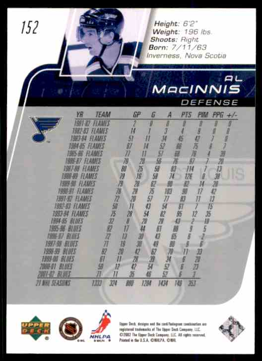 2002-03 Upper Deck Al MacInnis #152 card back image