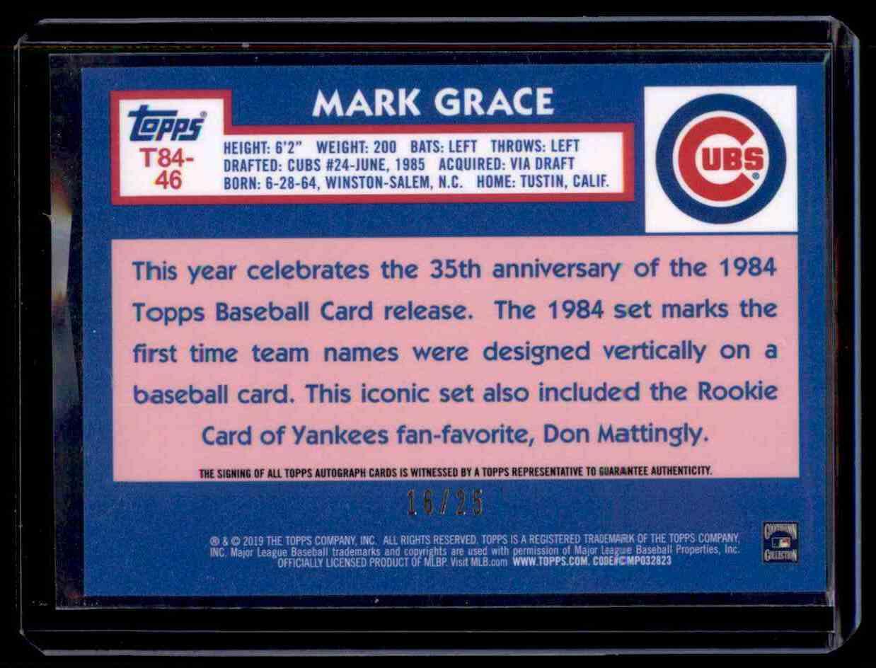 2019 Topps Baseball Silver Pack Mark Grace 35th Anniversary Orange
