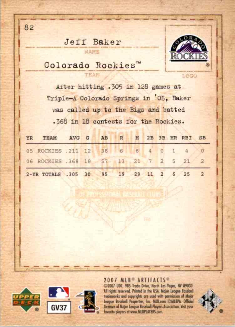 2007 Artifacts Jeff Baker (Rc) #82 card back image