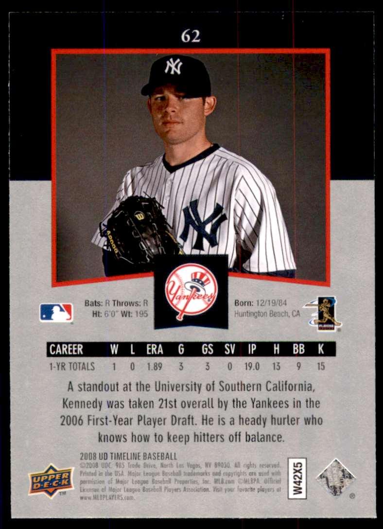 2008 Upper Deck Timeline Ian Kennedy RC #62 card back image