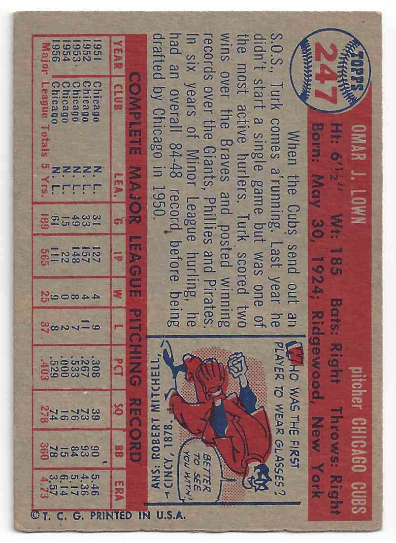 1957 Topps Turk Lown #247 card back image