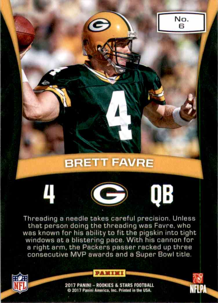 2017 Rookies And Stars Precision Passers Brett Favre #6 card back image