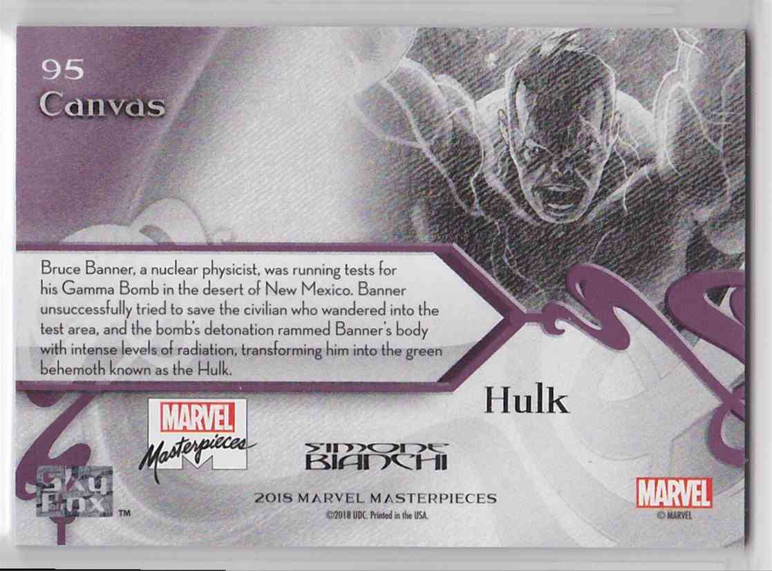 2018 Marvel Masterpieces Canvas Gallery Hulk #95 card back image