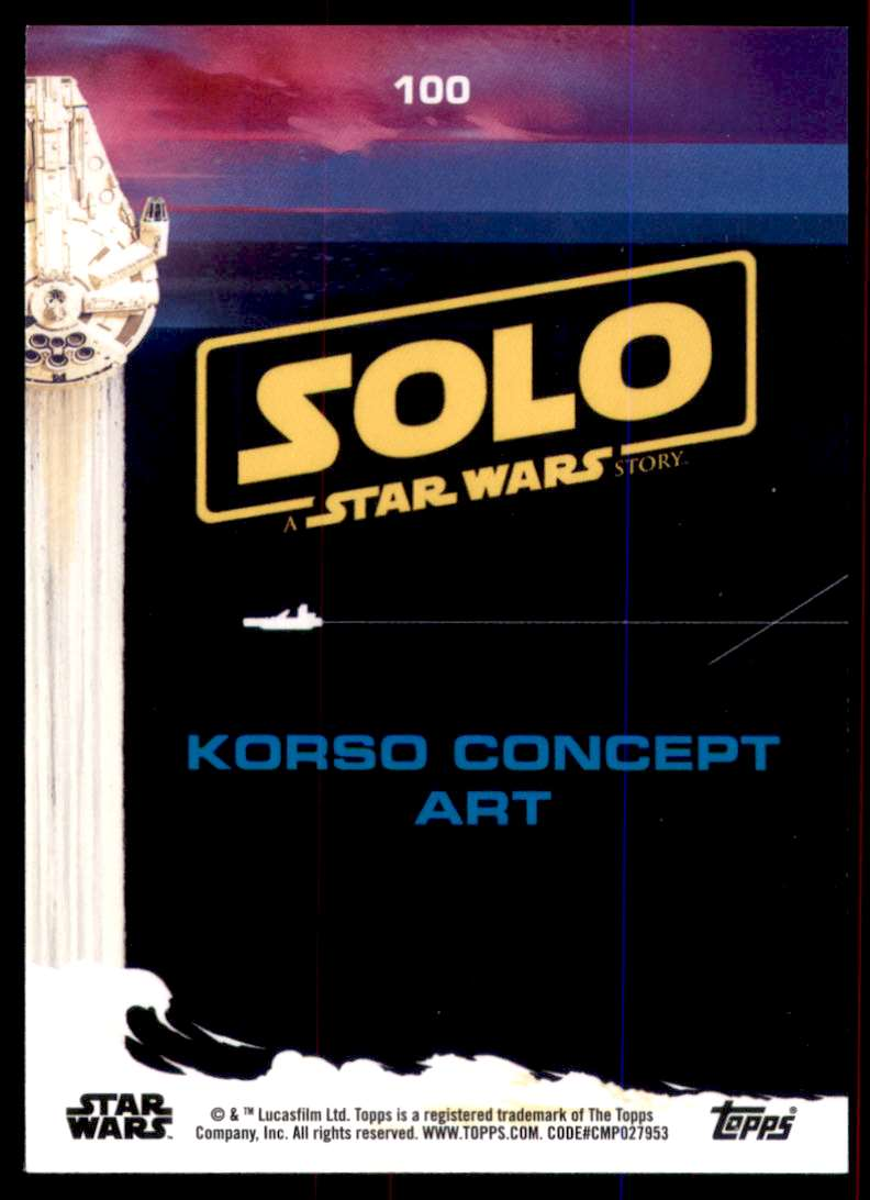 2018 Solo A Star Wars Story Yellow Korso Concept Art #100 card back image