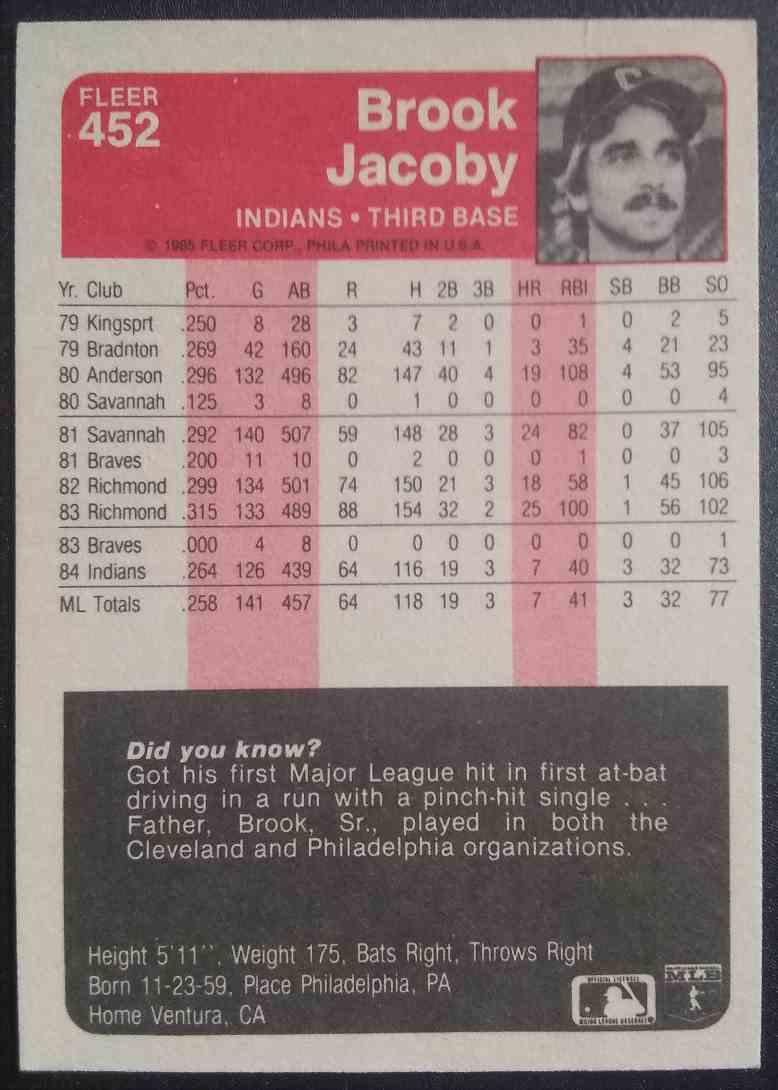 1985 Fleer Brook Jacoby #452 card back image