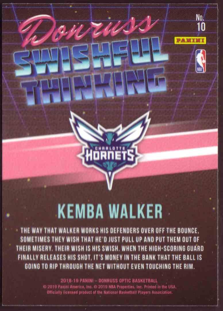 2018-19 Donruss Optic Swishful Thinking Kemba Walker #10 card back image