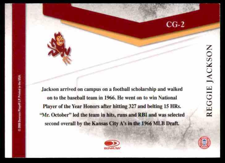 2008 Donruss Threads College Greats Reggie Jackson #CG2 card back image