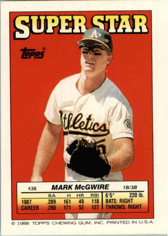 1988 Topps Mark Mcgwire 36 On Kronozio