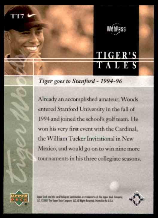 2001 Upper Deck Tiger Woods #TT7 card back image