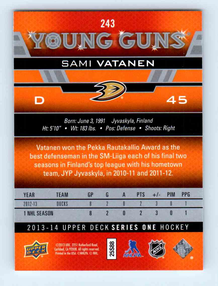 2013-14 Upper Deck Young Guns Sami Vatanen #243 card back image