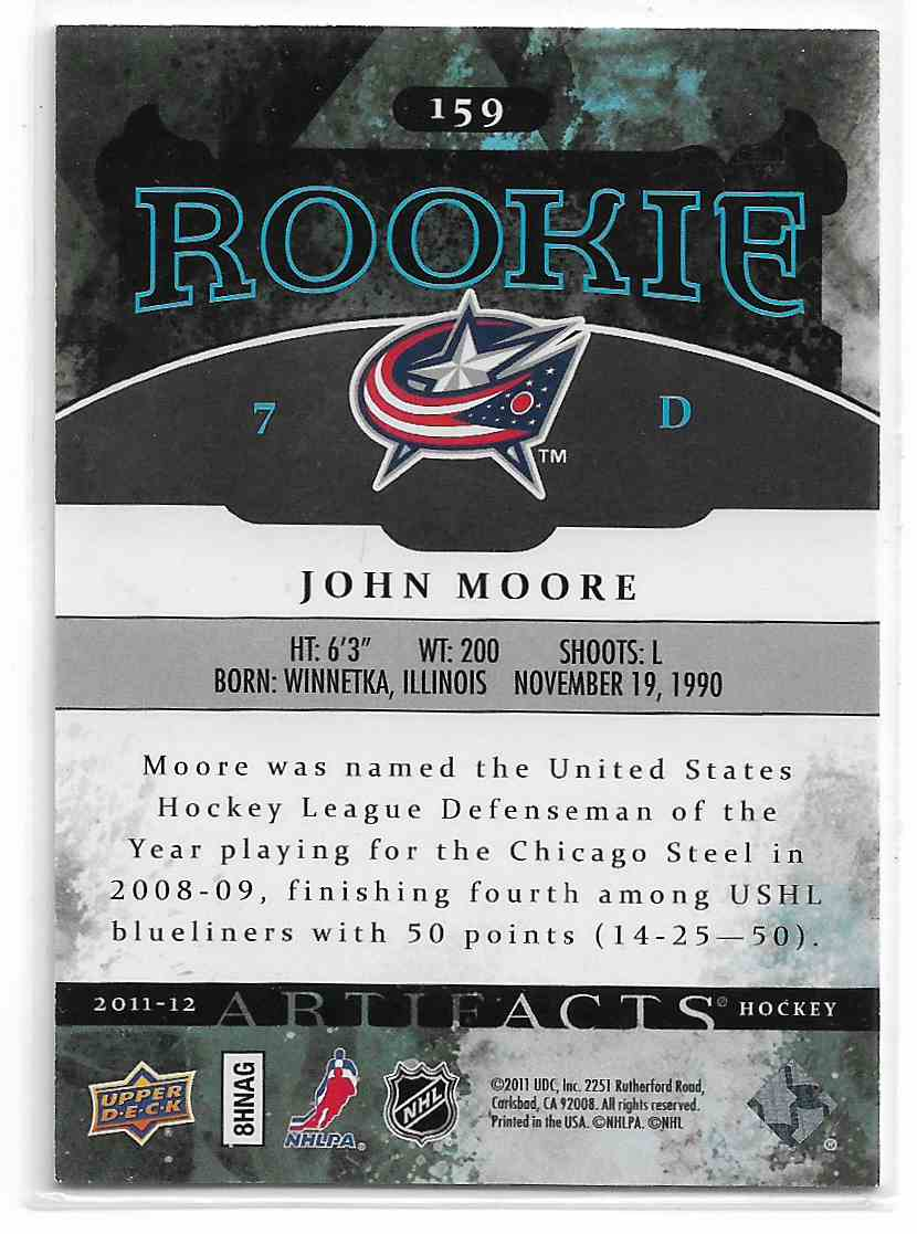 2011-12 Upper Deck Artifacts John Moore #159 card back image