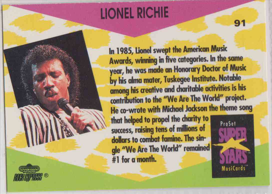 1991 Pro Set SuperStars MusiCards Lionel Richie #91 card back image