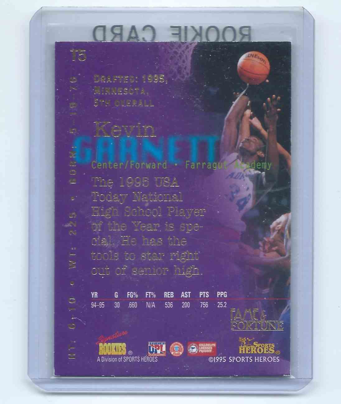 1995-96 Sports Heroes Signature Rookies Fame & Fortune - Top Five Kevin Garnett (Rc) Rookie Card #T5 card back image