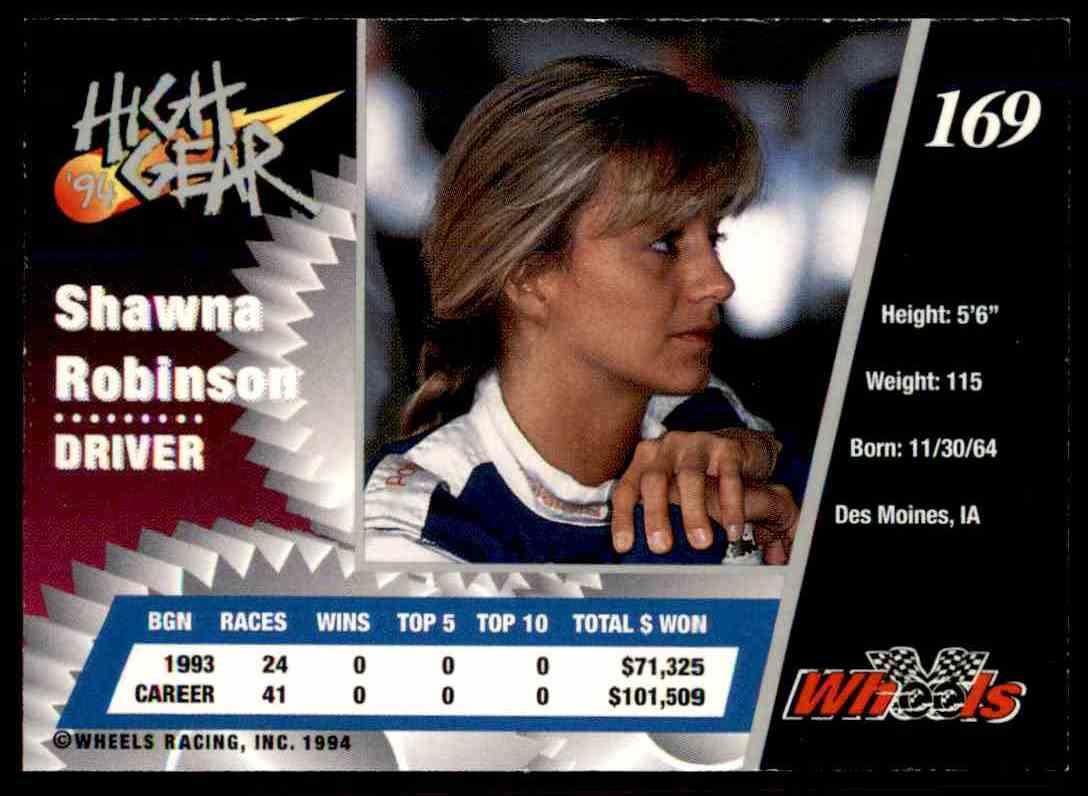 1994 Wheels High Gear Shawna Robinson #169 card back image