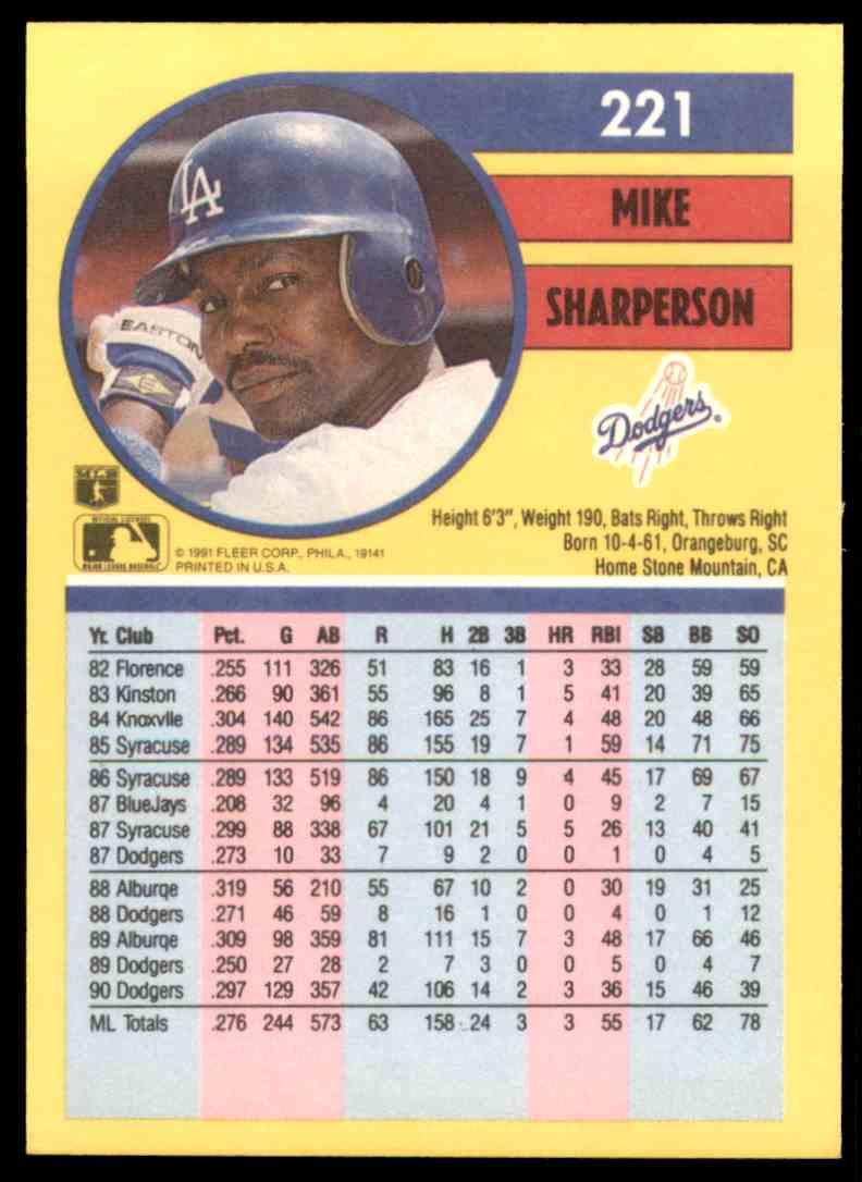 1991 Fleer Mike Sharperson #221 card back image