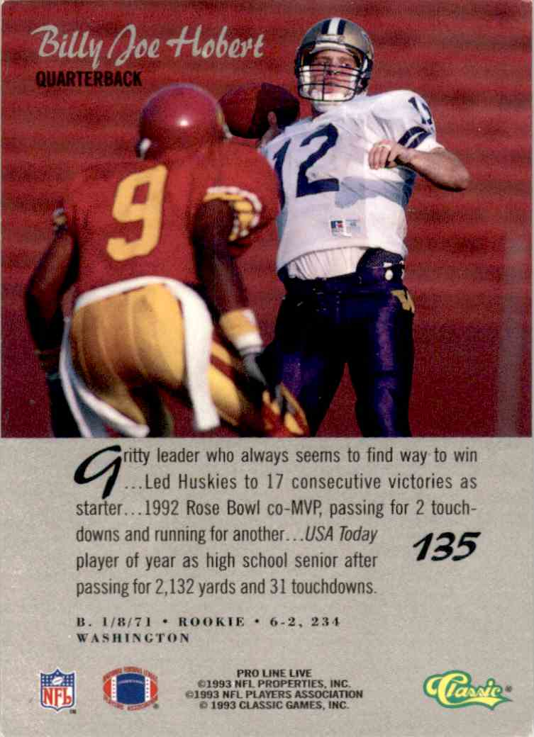1993 Pro Line Live Billy Joe Hobert RC #135 card back image