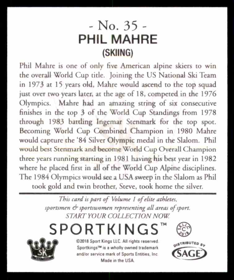 2018 Sportkings Black Back Retail Mini Phil Mahre #35 card back image