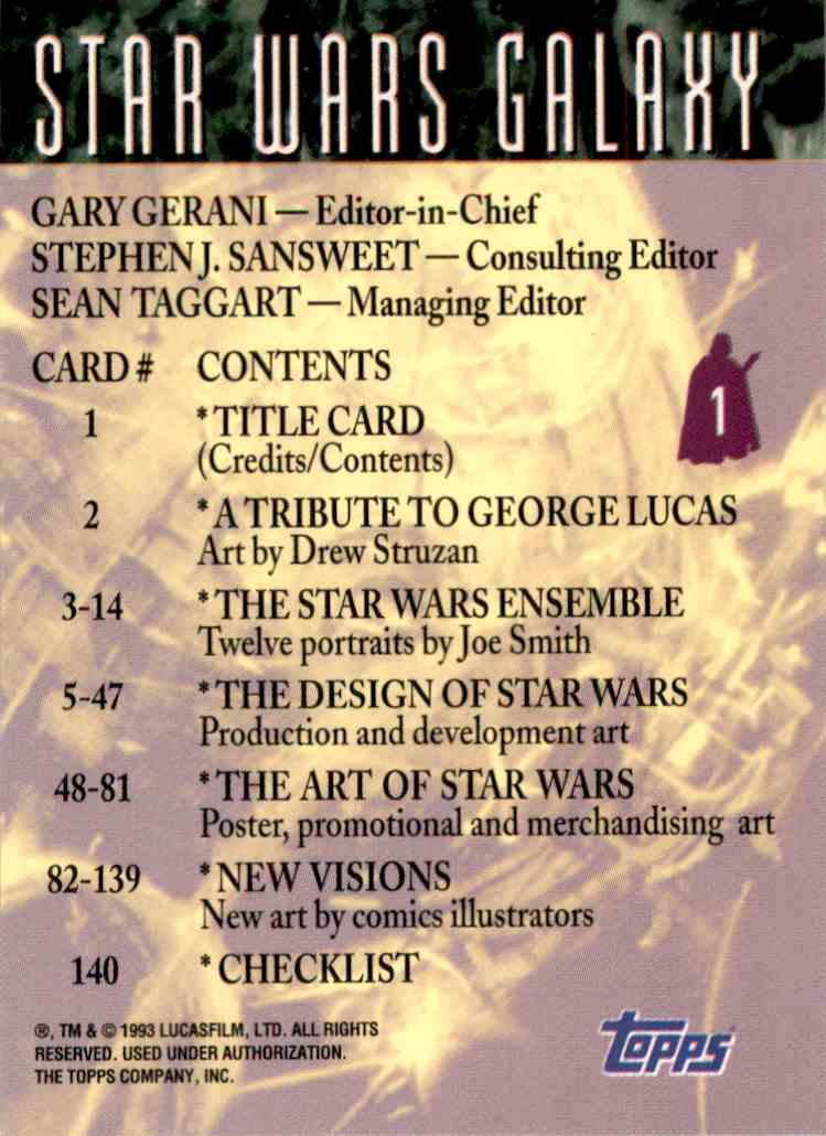 1993 Star Wars Galaxy Title Card #1 card back image