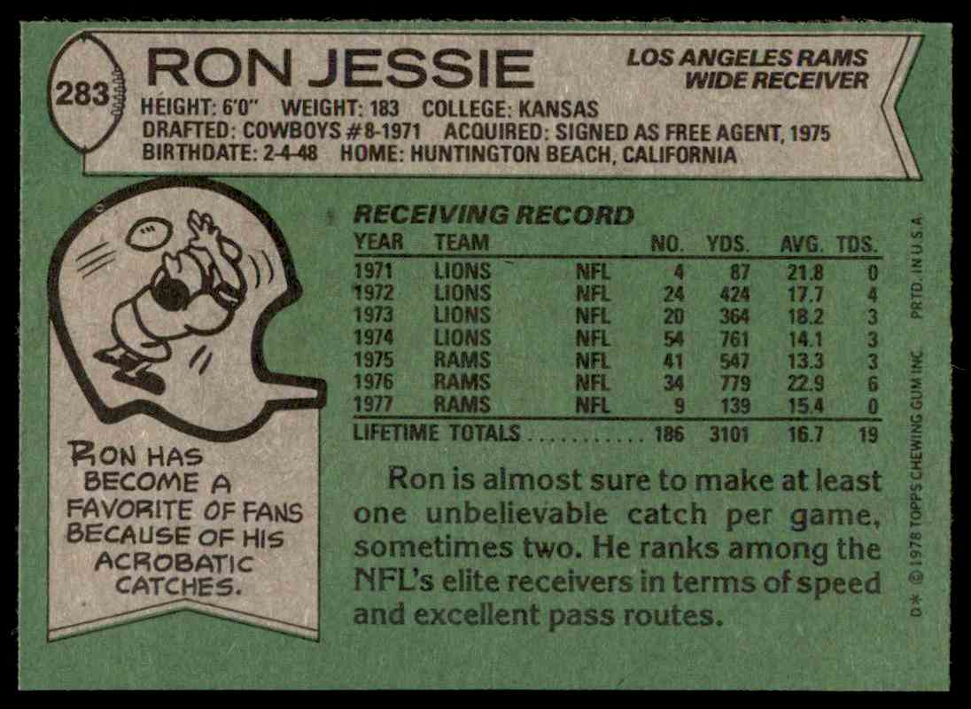 1978 Topps Football Ron Jessie #283 card back image