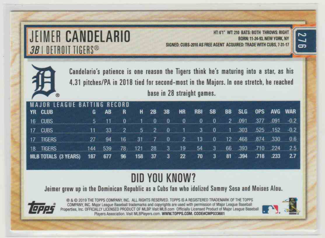 2019 Topps Big League Jeimer Candelario #276 card back image