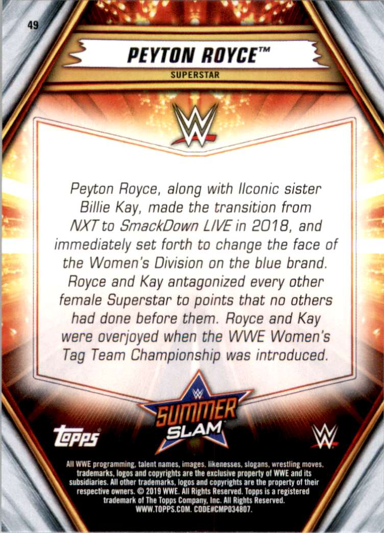 2019 Topps Wwe SummerSlam Peyton Royce #49 card back image