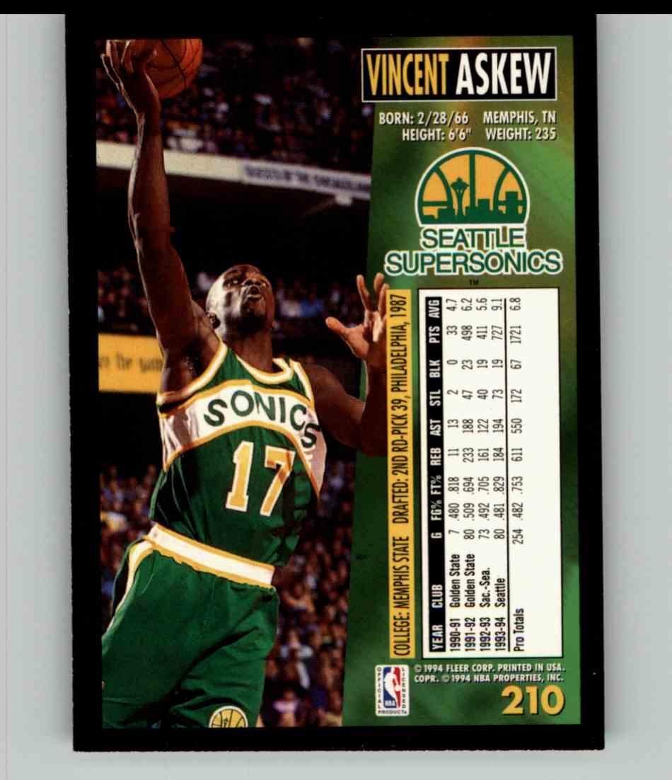 1994-95 Fleer Vincent Askew #210 card back image