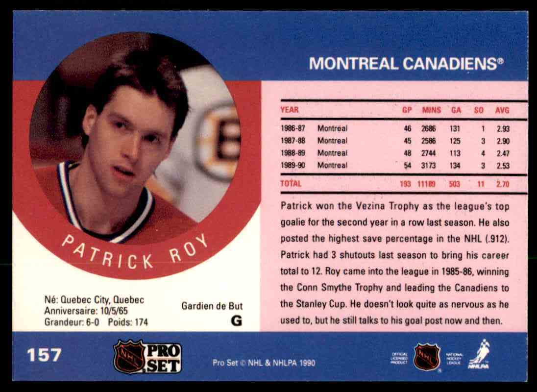 1990-91 Pro Set Patrick Roy #157 card back image