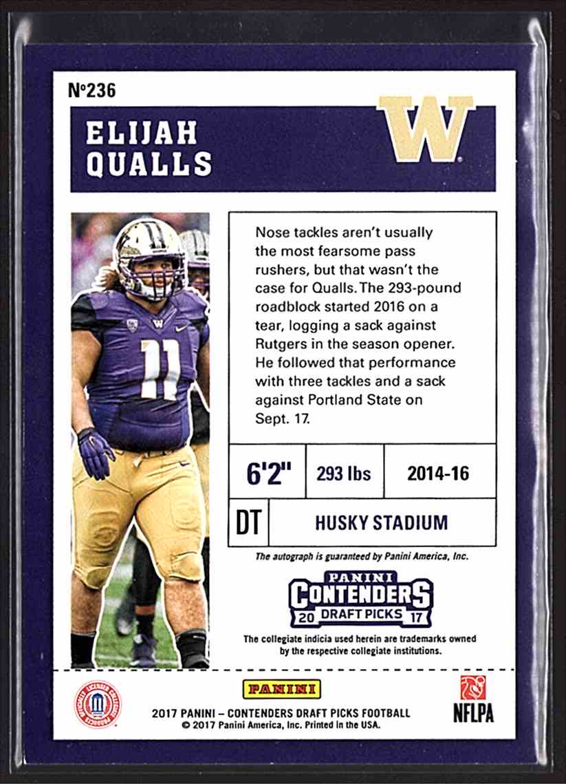 2017 Panini Contenders Draft Picks Elijah Qualls #236 card back image