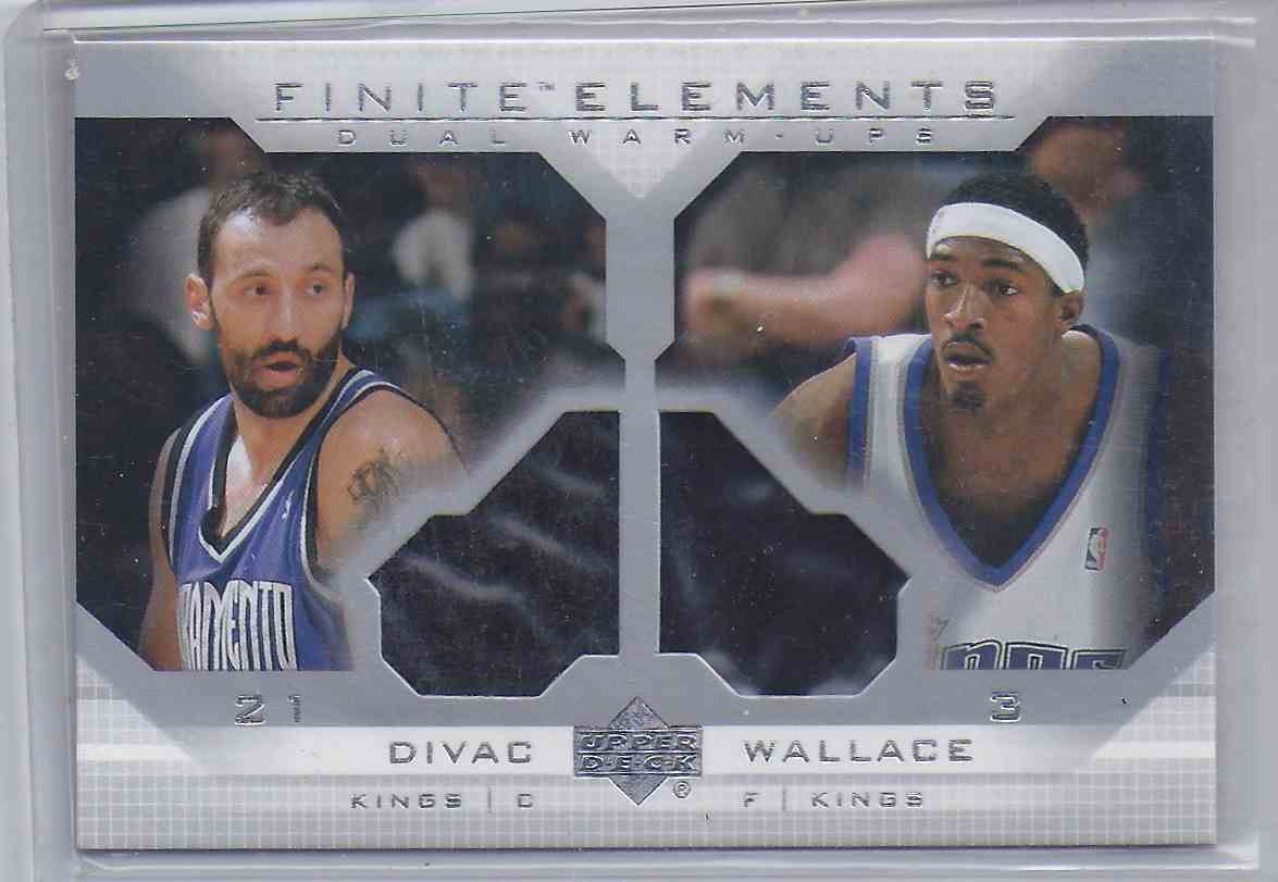 2003-04 Upper Deck Finite Elements Vlade Divac Gerald Wallace #FE3 card front image