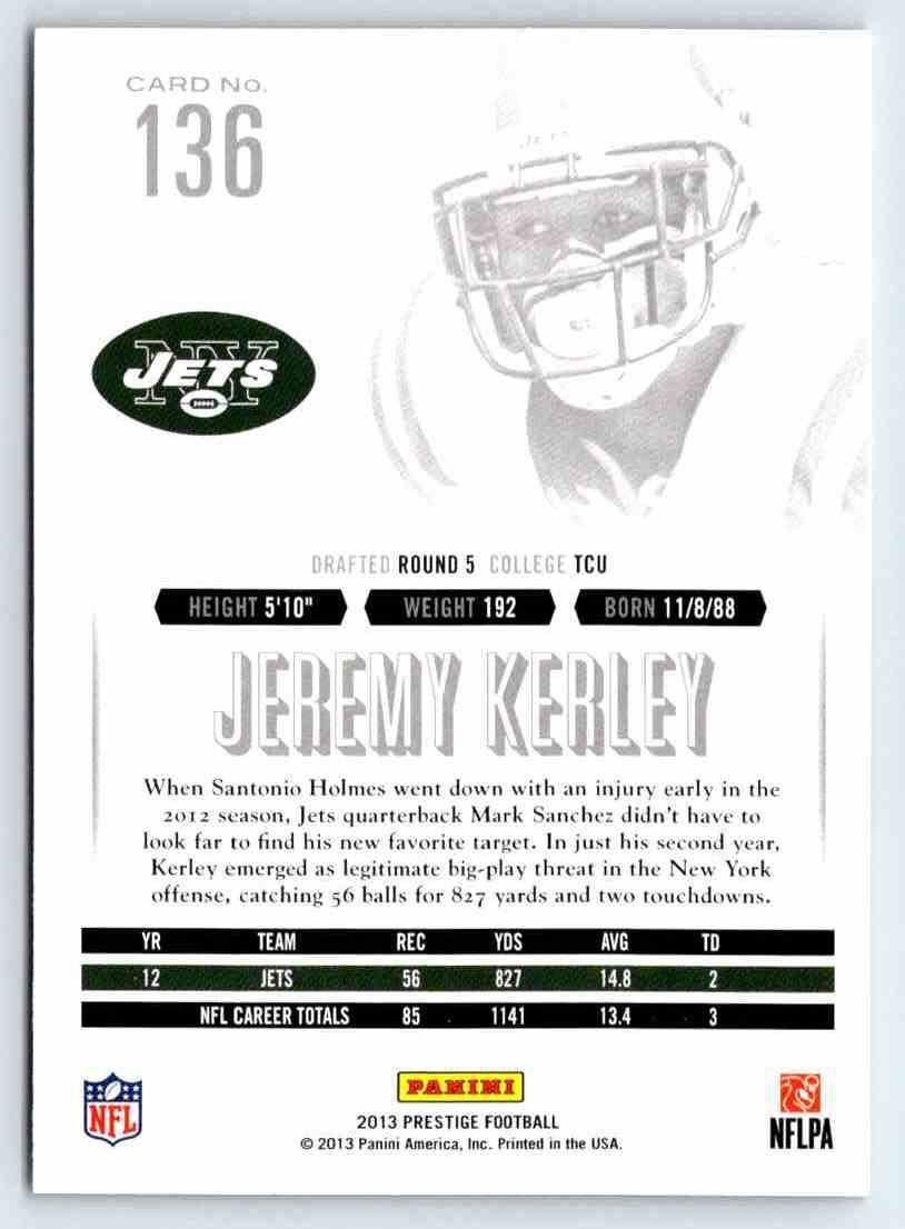 2013 Prestige Jeremy Kerley #136 card back image