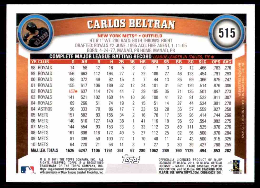 2011 Topps Carlos Beltran #515 card back image