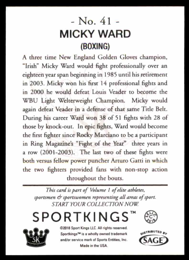 2018 Sportkings Black Back Retail Micky Ward #41 card back image