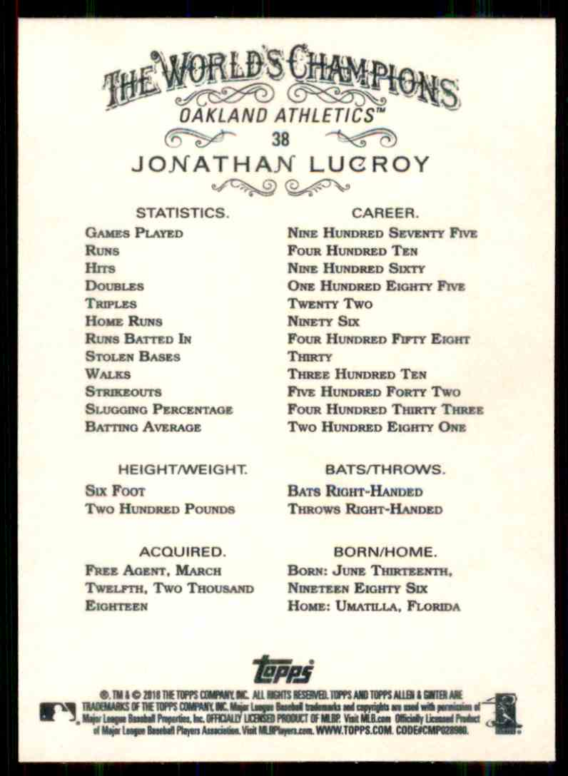 2018 Topps Allen & Ginter Jonathan Lucroy #38 card back image