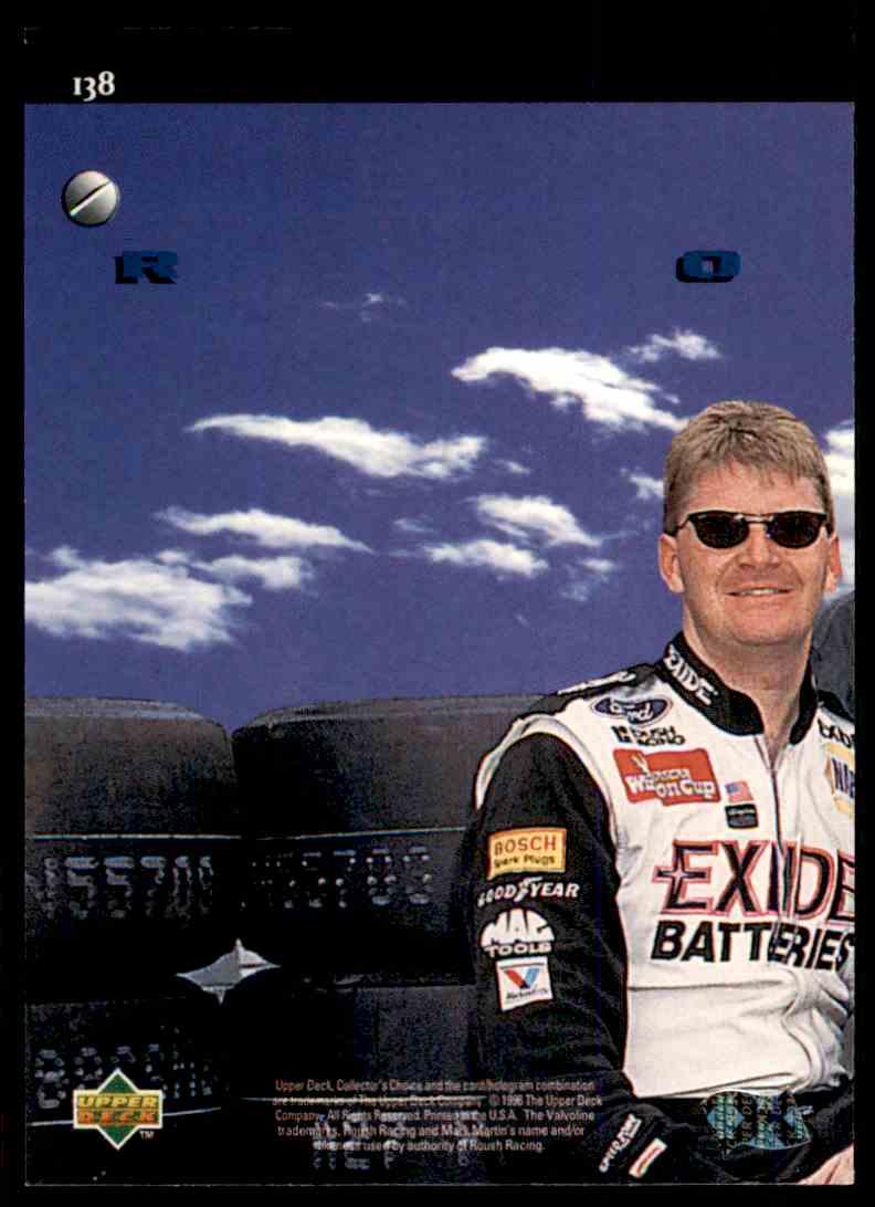 1996 Upper Deck Mark Martin #138 card back image