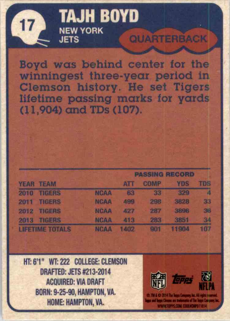 2014 Topps Chrome 1985 Tajh Boyd #17 card back image