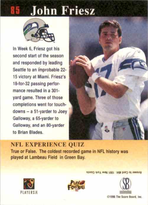 1997 Score Board NFL Experience John Friesz #85 card back image