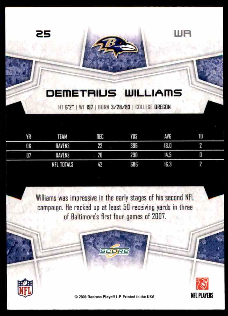 2008 Score Demetrius Williams #25 card back image